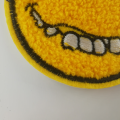 Yellow Smile Face Large Ciniglia Patch Design
