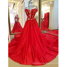 LS63356 Satin china red designer one piece latest designs for ladies baby girl party dress