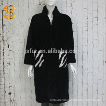 EU Fashion Elegantes Zebra Muster Overcoat Genuine Ganze Schaffell Mantel Frauen
