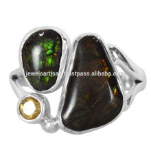 Beautiful Ammolite And Citrine Gemstone 925 Sterling Silver Ring Jewelry