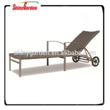 Outdoor Leisure Rattan Wicker Beach Sun Lounger Bed with Wheel