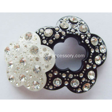 Acrylic Flowers Buckle with Clear Glass Stone for Kids