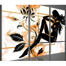 Hecho a mano 3 piezas de arte de la lona conjunto de pintura al óleo desnuda mujer