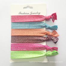 Silver Glitter Elastic Hairband Bracelet Hair Ties (HEAD-320)