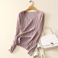 latest design cashmere sweater wide V neck sweater for lady fashion rib knitting sweaters