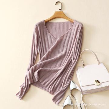 neueste design kaschmir pullover breite v-ausschnitt pullover für dame mode rippe strickpullover