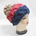 Женщины теплые шапочки вязаные крючком трикотажные Hat с Pompom