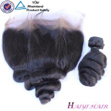 Onda suelta frontal del cordón remy indio del pelo humano original del pelo humano