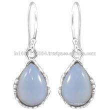 925 Sterling Silver e Natural Chalcedony Gemstone Drop Earrings ao melhor preço