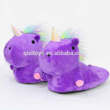 Zapatillas de animales suaves de felpa del diseño del unicornio vendedor caliente
