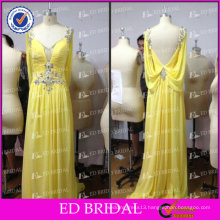 ED Elegant Real Picture China Supplier A-Line V Neck Low Back Chiffon Beaded Yellow Evening Dress 2017