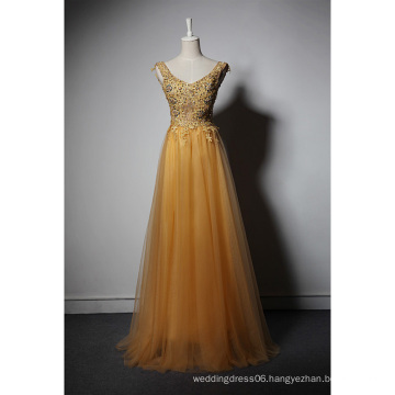 LSQ061 Gold v-neck tank natural waist sexy see-through lace gold sequin evening dress