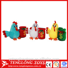 factory plush cheap chicken plush toy, stuffed chicken toy with money bucket