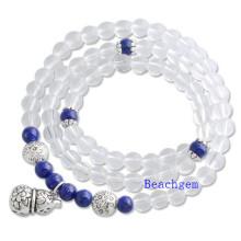 Natural White Quartz Beads Bracelet with Silver Charm (BRG0010)