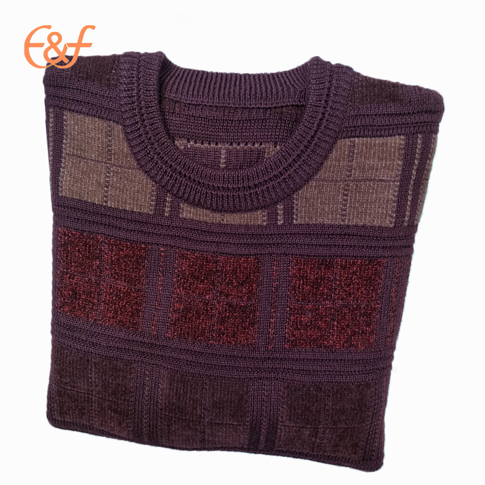 Maroon sweater with jacquard pattern