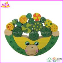 Jeu de bloc d'équilibre en bois enfants de forme de grenouille (W11F010)