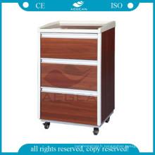 AG-BC004 Mobile chambre de patient application médicale en bois chevet hôpitaux