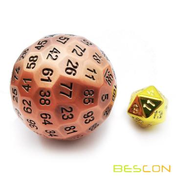 Bescon Solid Metal 100 Sided Dice, Game Dice D100,Giant Polyhedral Metal 100 Sides Dice 50MM in Diameter (1.97in),Ancient Copper