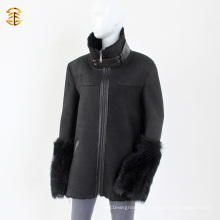 Schwarzes doppeltes Gesicht Schaffell Lamm Shearling Winter Männer oder Frauen Pelz Mantel