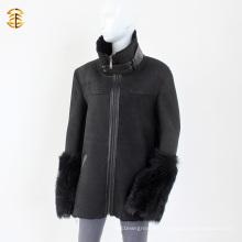 Negro Doble cara de piel de oveja de cordero Shearling hombres de invierno o abrigo de piel de las mujeres