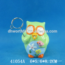 Portador de cerámica de la tarjeta de visita del buho precioso