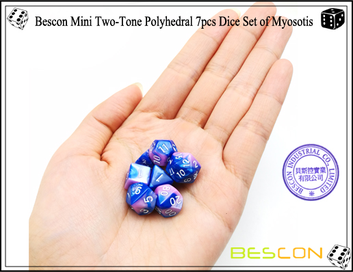 Bescon Mini Two-Tone Polyhedral 7pcs Dice Set of Myosotis-4