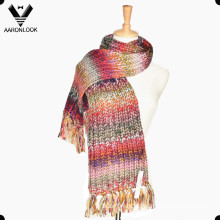 Fashion Iceland Yarn Multicolor Space Dyed Knitted Scarf