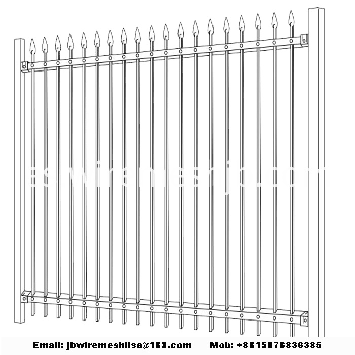 Black Zinc Steel Wrought Iron Fence