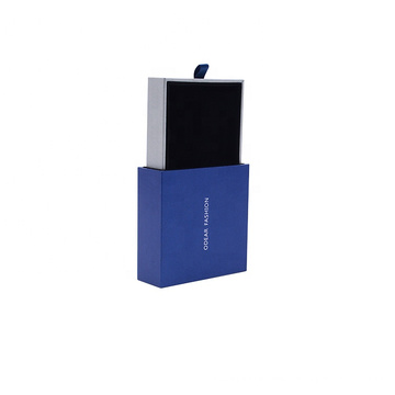 Custom Logo Printed Jewelry Boxes Blue small Packaging Box drawer gift packaging box