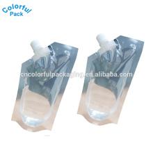 2016 saco de bebida de plástico de forma especial para suco personalizado bico bolsa 8 oz / 12 oz / 16 oz stand up bag com bico