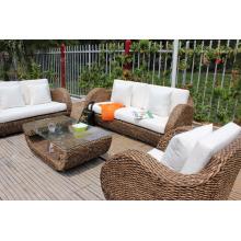 Conjunto de sofá de jacinto de água natural antigo