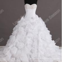 LS0116 Designer beautiful bead crystals ball gown organza flower bottom wedding dress wedding dress long tail bridal gowns real