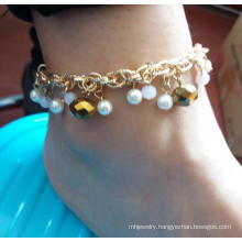 Fashion Jewelry Pearl Anklet with Metal Tassel