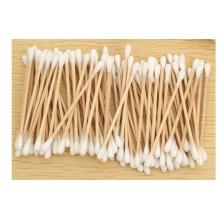 Cotonete promocional de algodão em bastão de madeira, cotonete de maquiagem 100% algodão