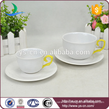 Wholesale yellow hand shank elegant Ceramic Cup and Saucer