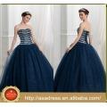 ASQ06 baratos Ball Gown Beads piedras azul marino vestido de fiesta 2017 Quinceanera vestido