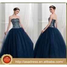 ASQ06 Cheap Ball Gown Beads Stones Robe de bal bleu marine 2017 Robe de quinceanera