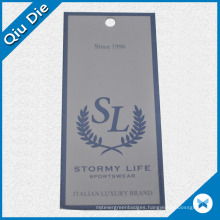 Customized Waterproof Paper Hangtag for Apparel/Clothing Fabric