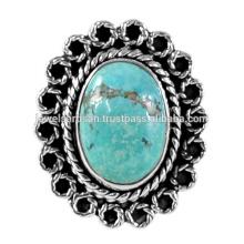 Bijoux à anneaux en argent sterling 925 en pierres précieuses turquoise tibétain