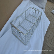 High capacity stainless steel metal wire mesh basket with for put storage
