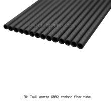 Tubos ou tubulações redondas da fibra completa lustrosa do carbono da sarja do preço de fábrica 3K