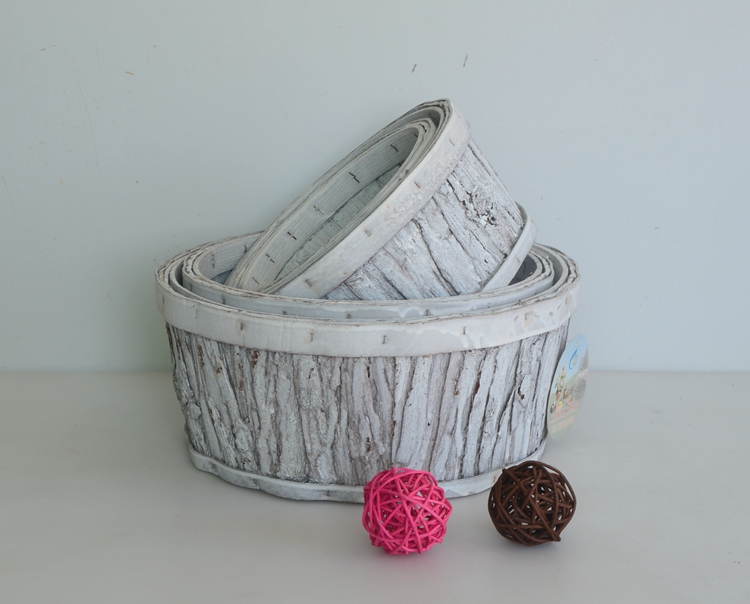 Round wash white wood bark handicarft flower basket
