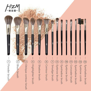 14Goat Hair Makeup Brush Unicorn sminkborsteuppsättningar
