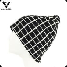 Hombres de invierno de alta calidad Jacquard Grid Beanie Hat