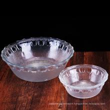 Haonai 350ml,1.6L glass salad bowl fruit glass bowl frosted effect apple design bowl