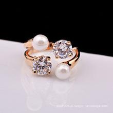 Fantasia banhado a ouro acessórios de jóias pérola e aberturas de diamante anel de noivado