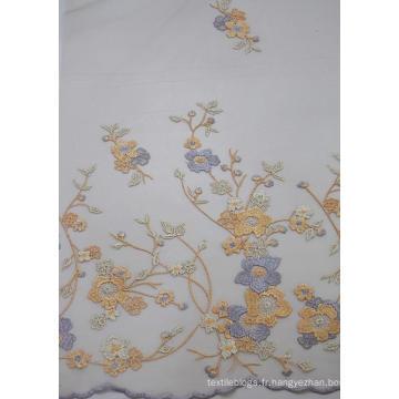100% tissu de maille de broderie de conception de mode de polyester