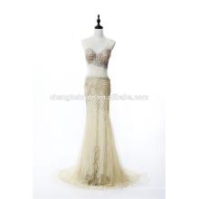 Nuevo estilo ver aunque vestido de fiesta de cristal rebordear vestido de noche sexy vestido de encaje largo formal