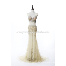 New Style See Though Party Dress Crystal Beading Evening Dress Sexy Lace Long Formal Dress