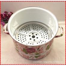 kitchenware custom full design enamel steamer pot